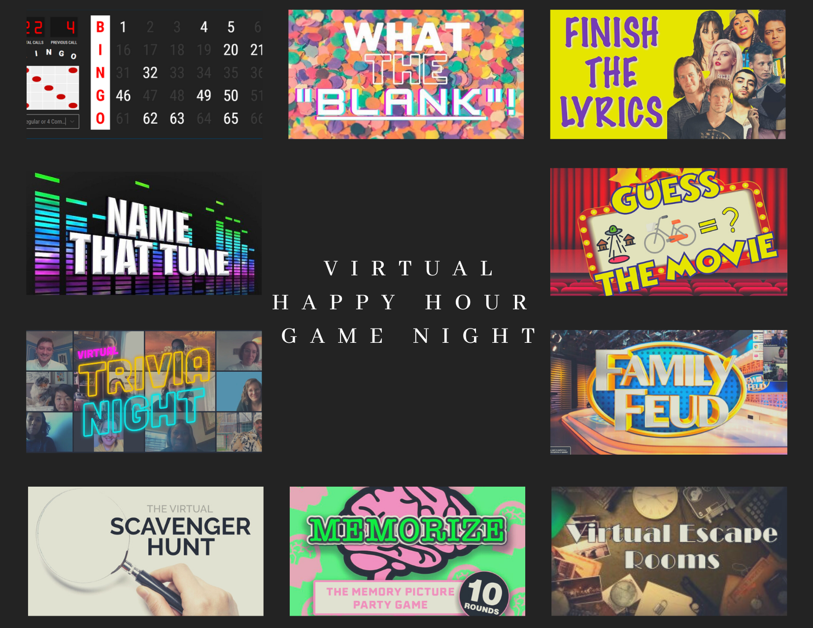 Virtual Game Night with delivered snack or cocktail kids